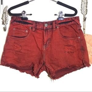 Free People Shorts - Free People Distressed Overdyed Sunset Red Shorts
